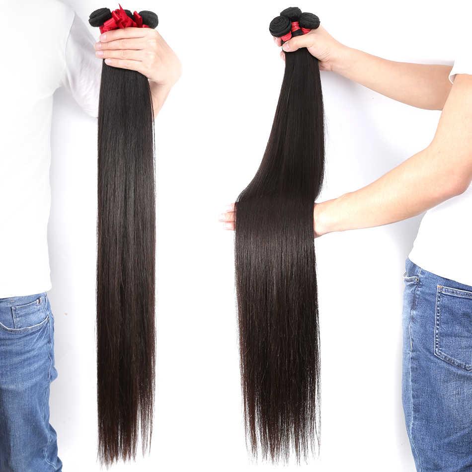 Halo 28 30 32 40 inç brezilyalı saç örgü demetleri düz 1 3 4 demetleri doğal renk % 100% insan saçı uzun Remy saç ekleme