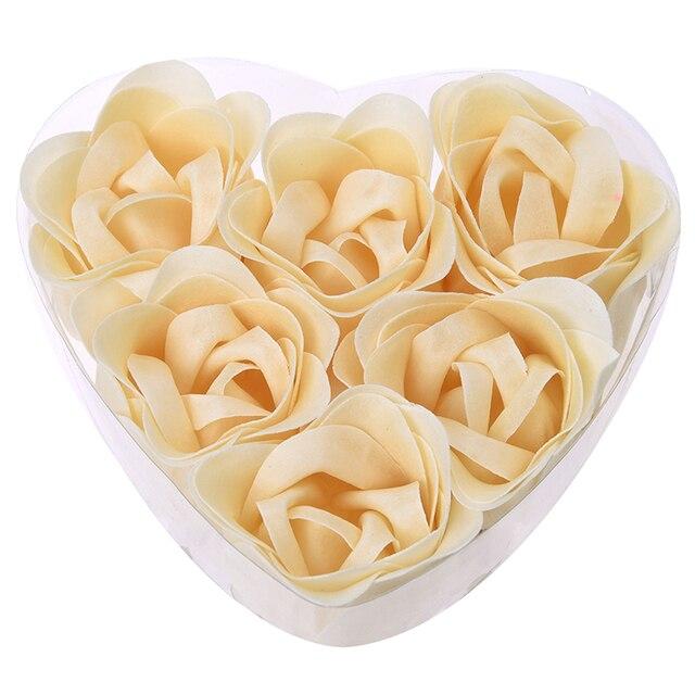 6 Pcs Bathing Shower Off White Rose Flower Bath Soap Petals w Heart Shaped Box 1