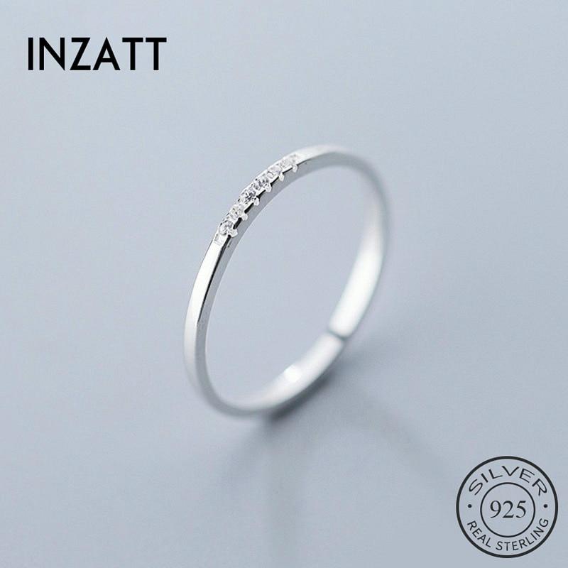 INZATT Real 925 Sterling Silver Zircon Geometric Round Ring For Fashion Women Fine Jewelry Minimalist Cute Accessories 2019 Gift