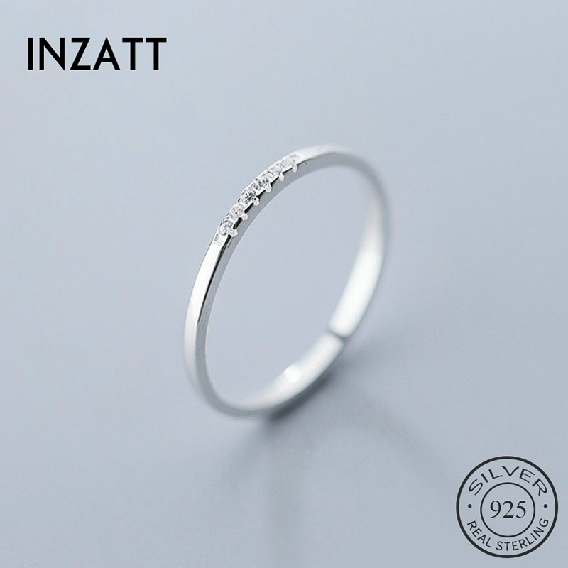 INZATT Real 925 Sterling Silver Zircon Geometric Round Ring For Fashion Women Fine Jewelry Minimalist Cute Accessories 2019 Gift