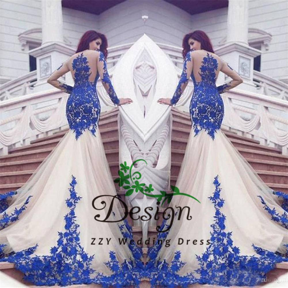 2019 New Dubai Mermaid   Prom     Dresses   Royal Blue Lace Appliques Sheer Sexy See Through Back Long Sleeves Vestios De Fistea Evening