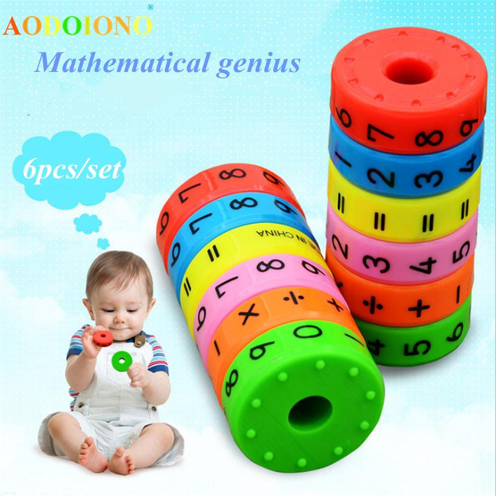 6Pcs/Set Magnetic Montessori Kids Preschool Educational Plastic Toys For Children Math Numbers DIY Assembling Puzzles Boys Girls