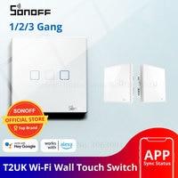 SONOFF T2UK Wifi Wandlamp Touch Schakelaar, 1/2/3 Bende Slimme Schakelaar Alexa, 433 RF/Voice/APP Afstandsbediening Schakelaars Glas Panel TX