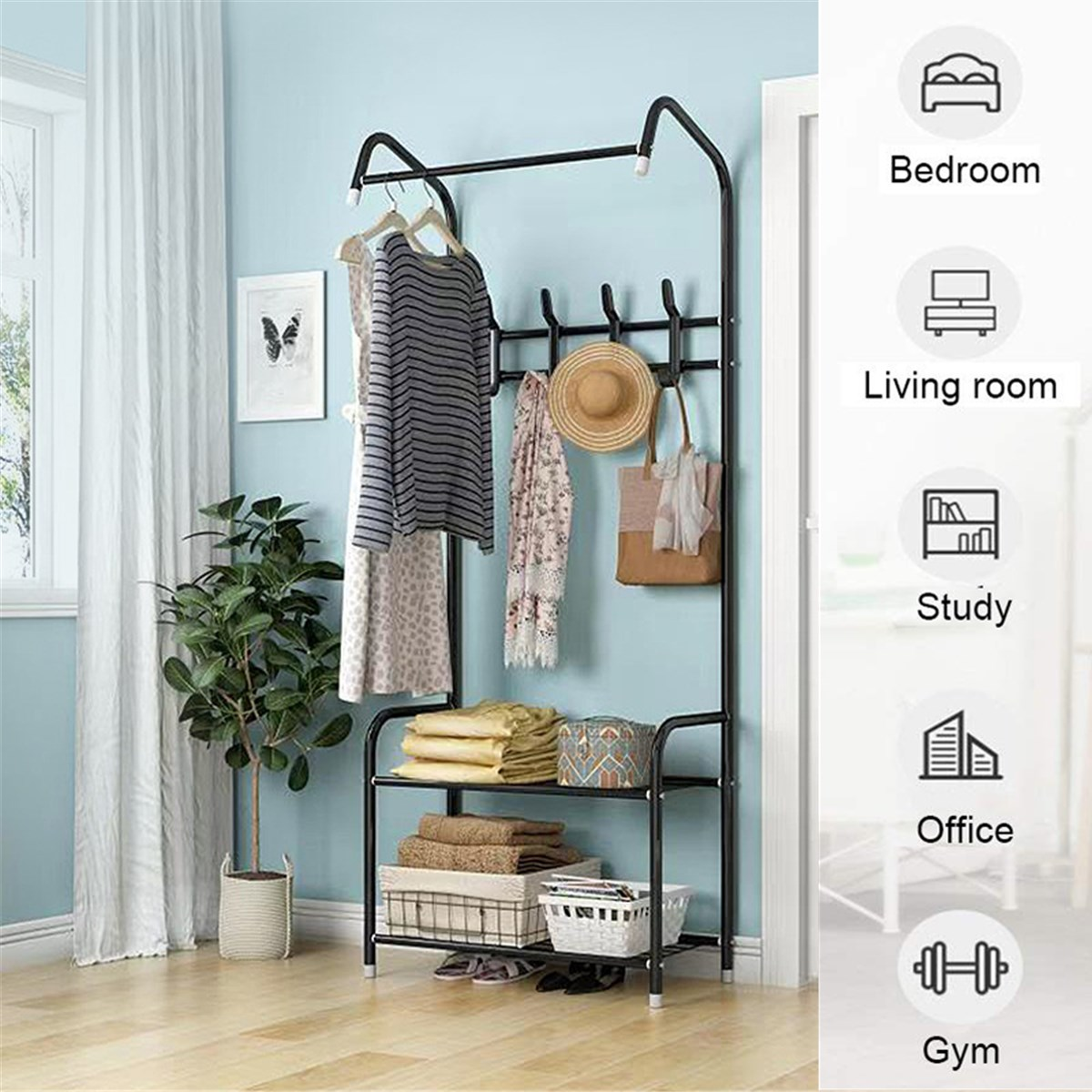 Coat Rack Landing Clothing Holder Hanger Floor Standing Storage Shelf Clothes Hanger Rack Modern Simple Style Bedroom Furniture
