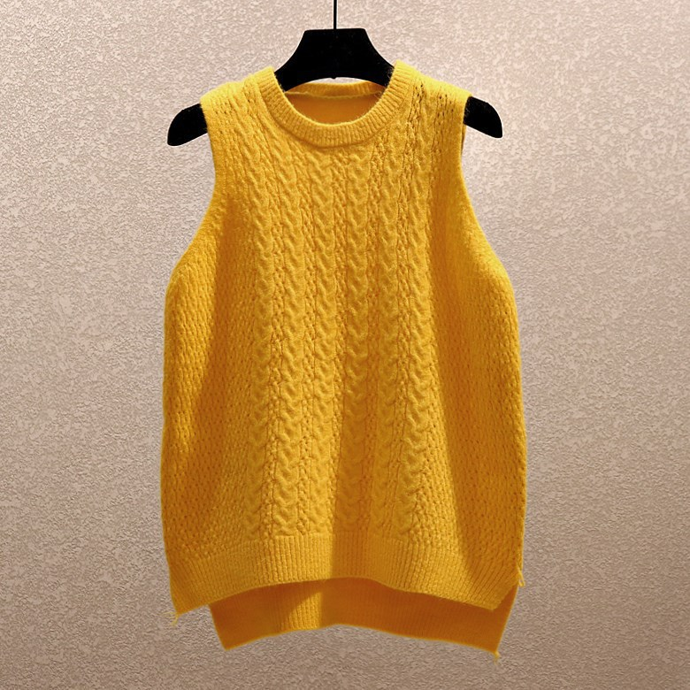 Korean-style New Style Versatile College Style Sleeveless Waistcoat Vest Tops Yarn Waistcoat Women's Knitted Pullover Spring And