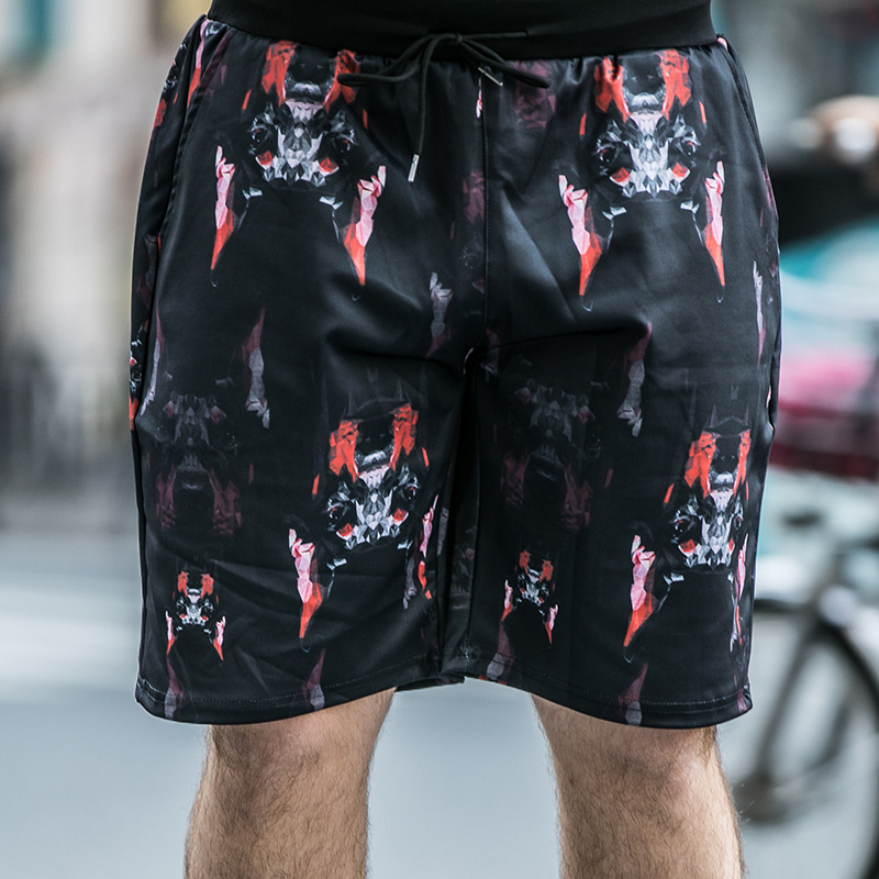 Large Size Men's Guy Pants Five Points Pants Thin Section Personalized Printing Plus Fat Increase Casual Shorts Seaside