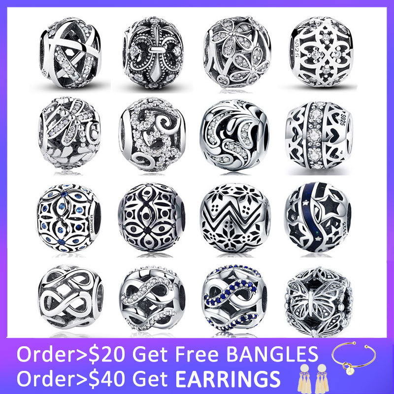 BISAER Genuine 925 Sterling Silver Charm Galaxy Beads Fit Pandora Bracelet CZ Original Pendant Authentic Equal Jewelry