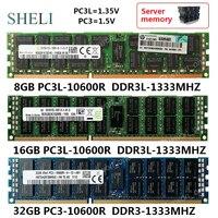 SHELI 8 GB/16 GB/32 GB PC3L-10600 R DDR3-1333M Hz ram 240Pin RDIMM ECC Reg Серверная память