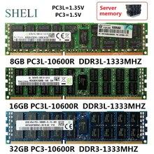 Shdiy servidor de memória, 8gb/16gb/32gb PC3L-10600 r DDR3-1333M hz ram 240pin rdimm ecc reg