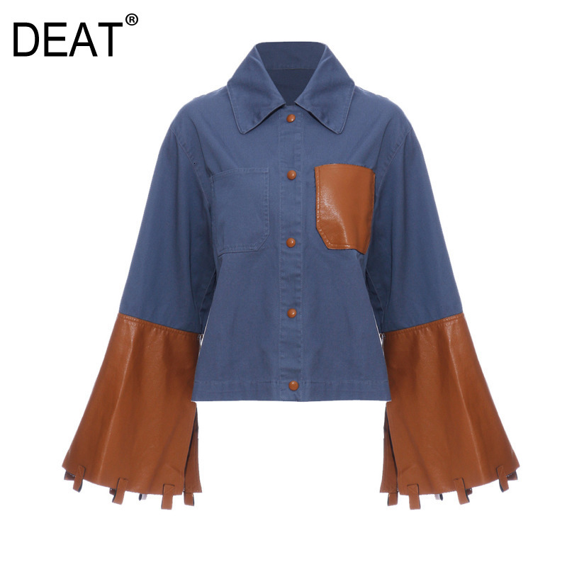 DEAT 2019 Autumn And Winter New Products Fashion Retro Hit Color Denim Leather Trumpet Sleeve Shirt Jacket PB086