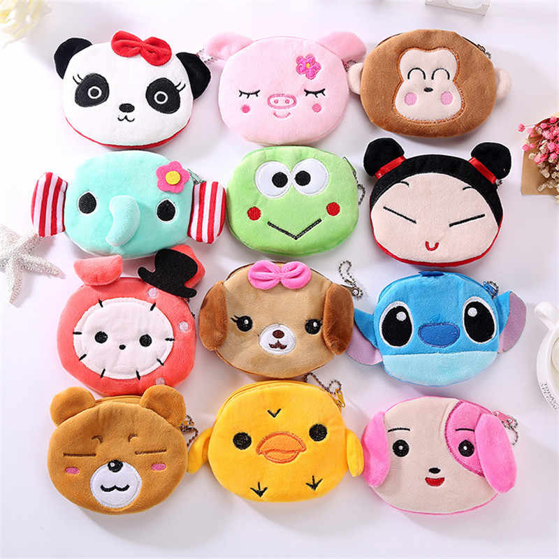 Cartoon Coin Purse Coin Keys Earphone Storage Soft Plush Zipper Small Wallet For Kawaii Child Girl Chrismas Gift Mini Pouch