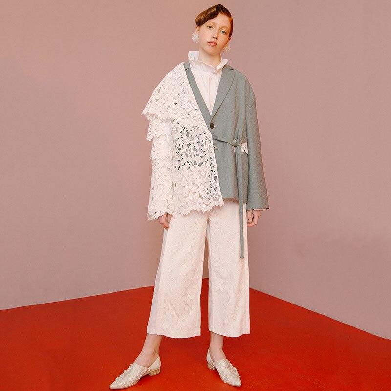 [EAM] Loose Fit Contrast Color Lace Big Size Jacket New Lapel Long Sleeve Women Coat Fashion Tide Spring Autumn 2020 1D319 6