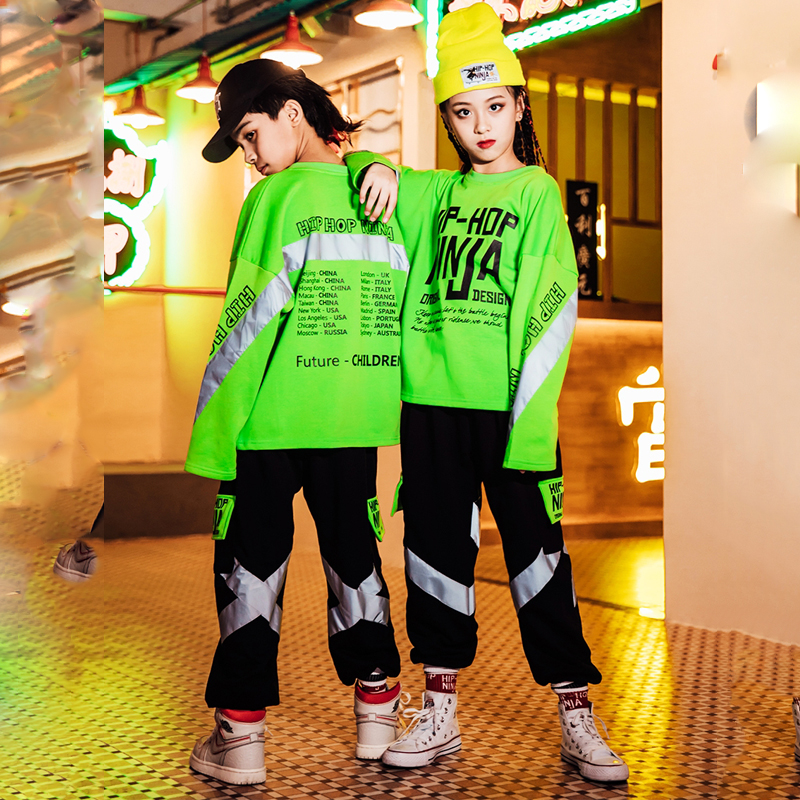 Children Hip Hop Dance Costumes Kids Green Sweater Hiphop Pants Jazz Street Dancewear Reflective Strips Stage Costume DQS3687