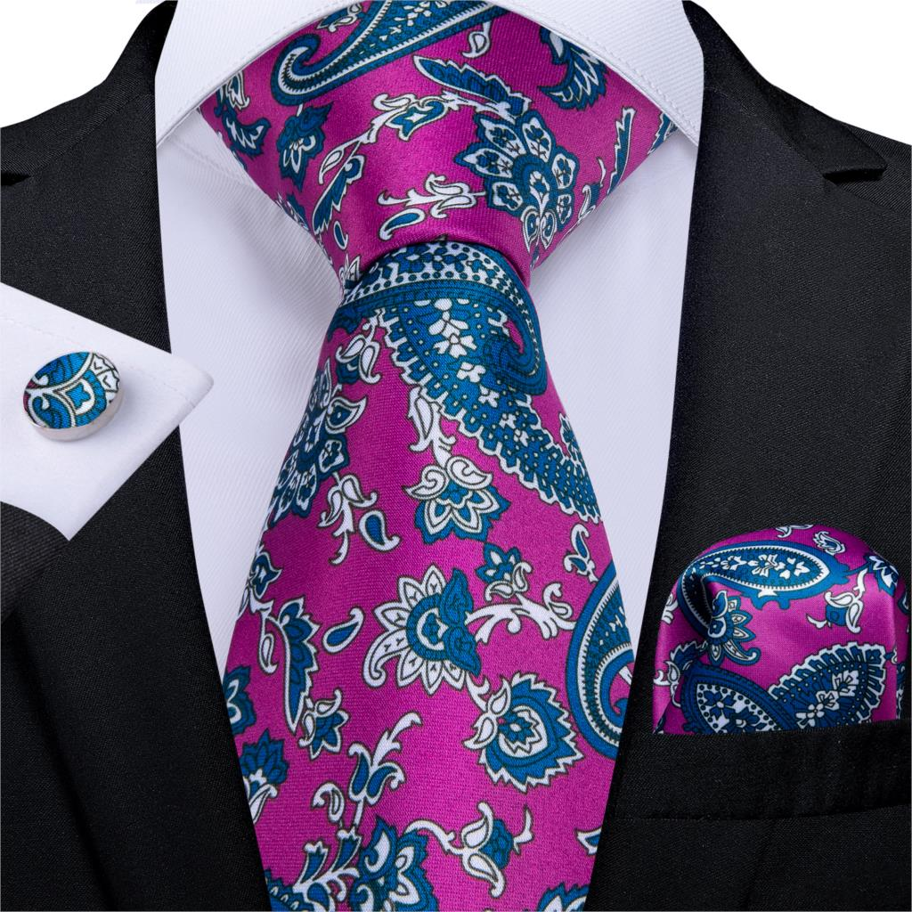 Fashion Men's Necktie Purple Blue Print Floral Wedding Tie For Men Hanky Cufflinks Silk Men Tie Set DiBanGu Designer MJ-7256