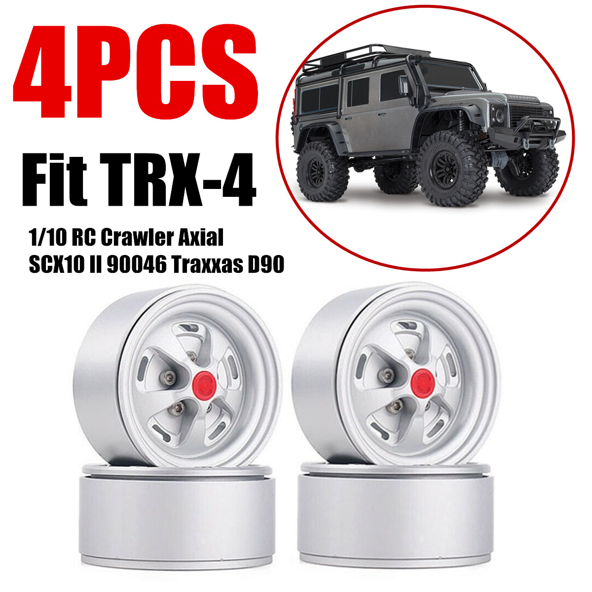 "4X Alloy 1.9/"" Beadlock Wheel Rims For 1//10 RC Crawler Axial SCX10 RedCat TRX-4"