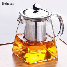 Behogar, 350 мл, 550 мл, 750 мл, стеклянный квадратный чайный горшок, высокая термостойкость, цветочный чайный кофейник со свободными листьями, крышка Ситечка для заварки