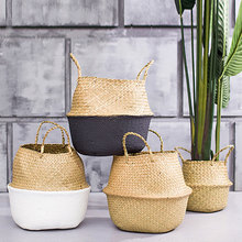 Folding Laundry Basket Flower Pot Vase Rattan Straw Basket Wicker Home Garden Hanging Basket Wedding Basket Garden Decoration