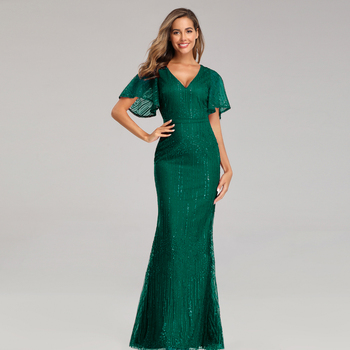 Sparkle Sexy Mermaid Evening Dresses Long Sequined V-Neck Sparkle Evening Gowns For Party Vestidos Largos Fiesta 2019 New Dress 2