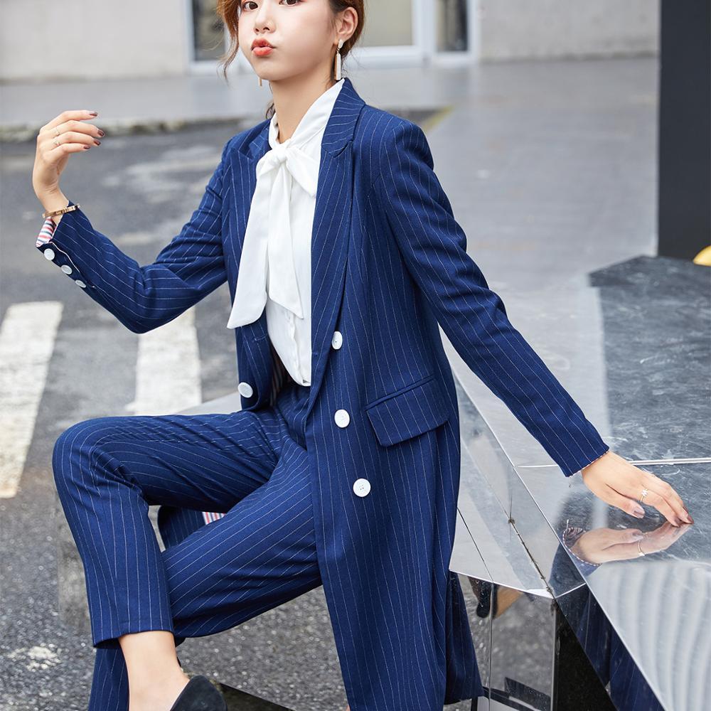 Formel femmes Blazer pantalon costume pour bureau dame longue rayure Blazer costume ensembles noir bleu veste et pantalon 2 pièces ensembles - 3