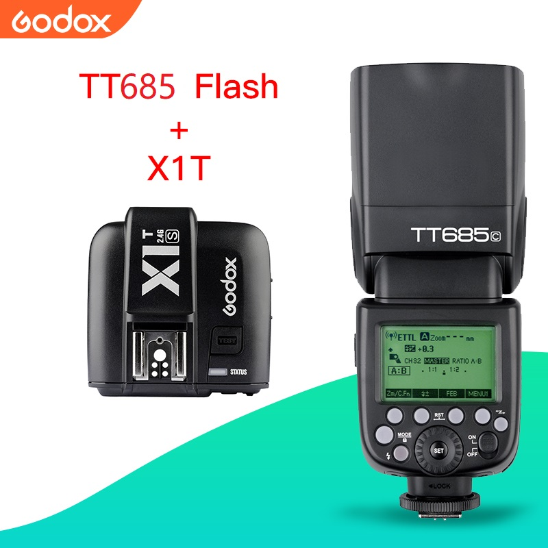 Transmissor para Canon Velocidadelite com X1t Godox Flash Gatilho Nikon Sony Fuji Olympus Tt685 Ttl