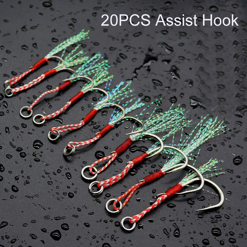 20pcs/lot Fishing Lure Slow Jigging Fishing Cast Jigs Assist Hook Barbed Single Jig Hooks Thread Feather Pesca High Carbon Steel