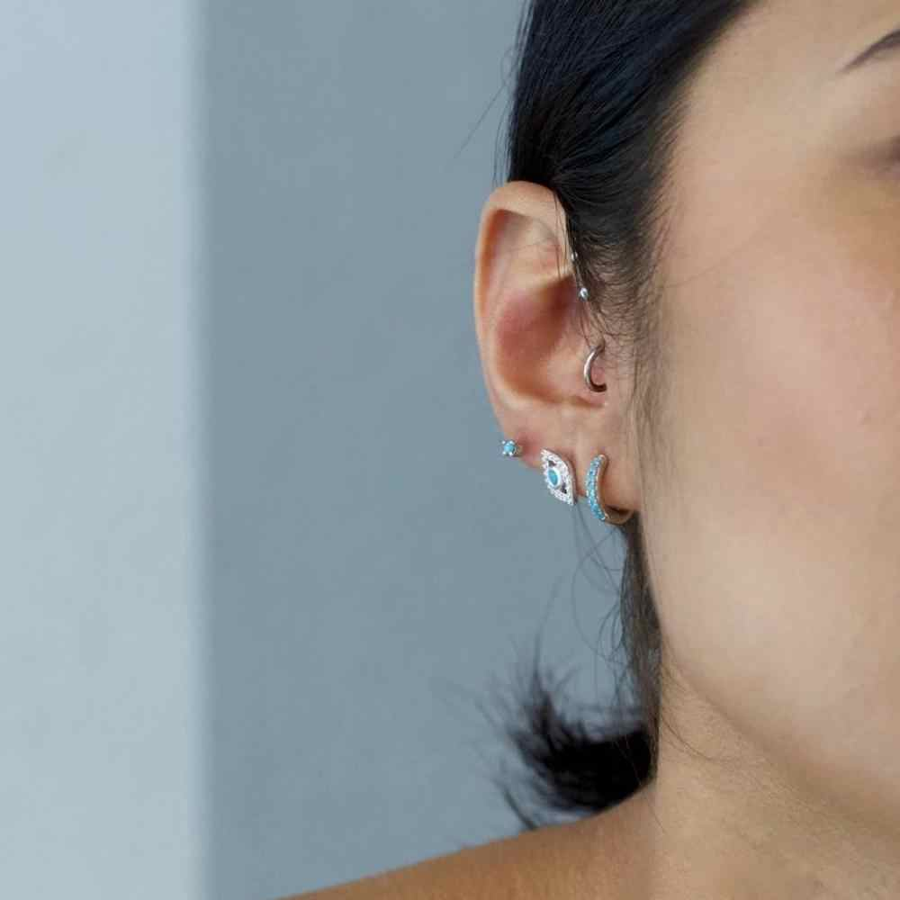 Altruist 925 Sterling Mini Huggies Crystal CZ Lingkaran Berwarna-warni Loop Klip Anting-Anting Tindik untuk Wanita 2019 Lingkaran Bulat Perhiasan