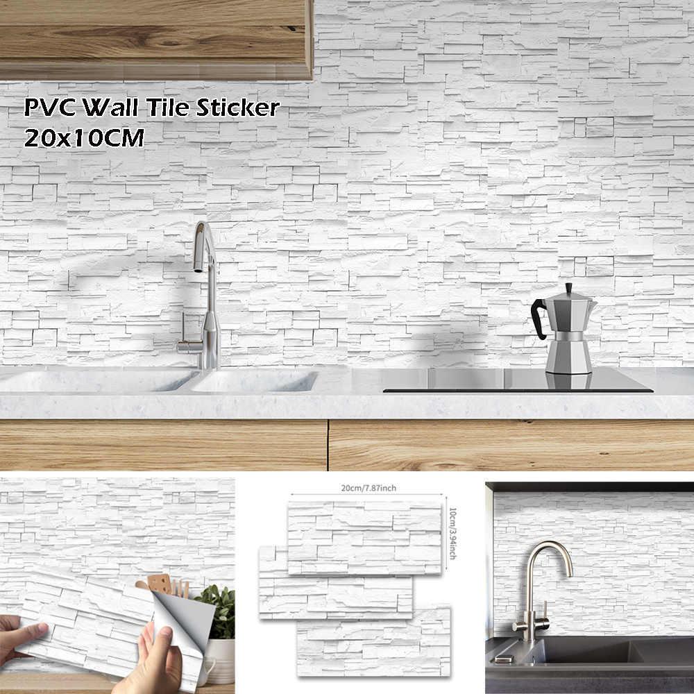 27Pcs Putih Batu Bata Perekat Diri Stiker Dinding PVC Tahan Air Diseduh Sendiri Lantai Stiker Kamar Mandi Dapur Rumah Dekorasi 20*10 Cm