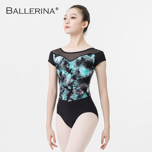 Image 4 - ballet dance leotard for women Practice adulto gymnastics mesh short sleeve printing leotard Ballerina 3546