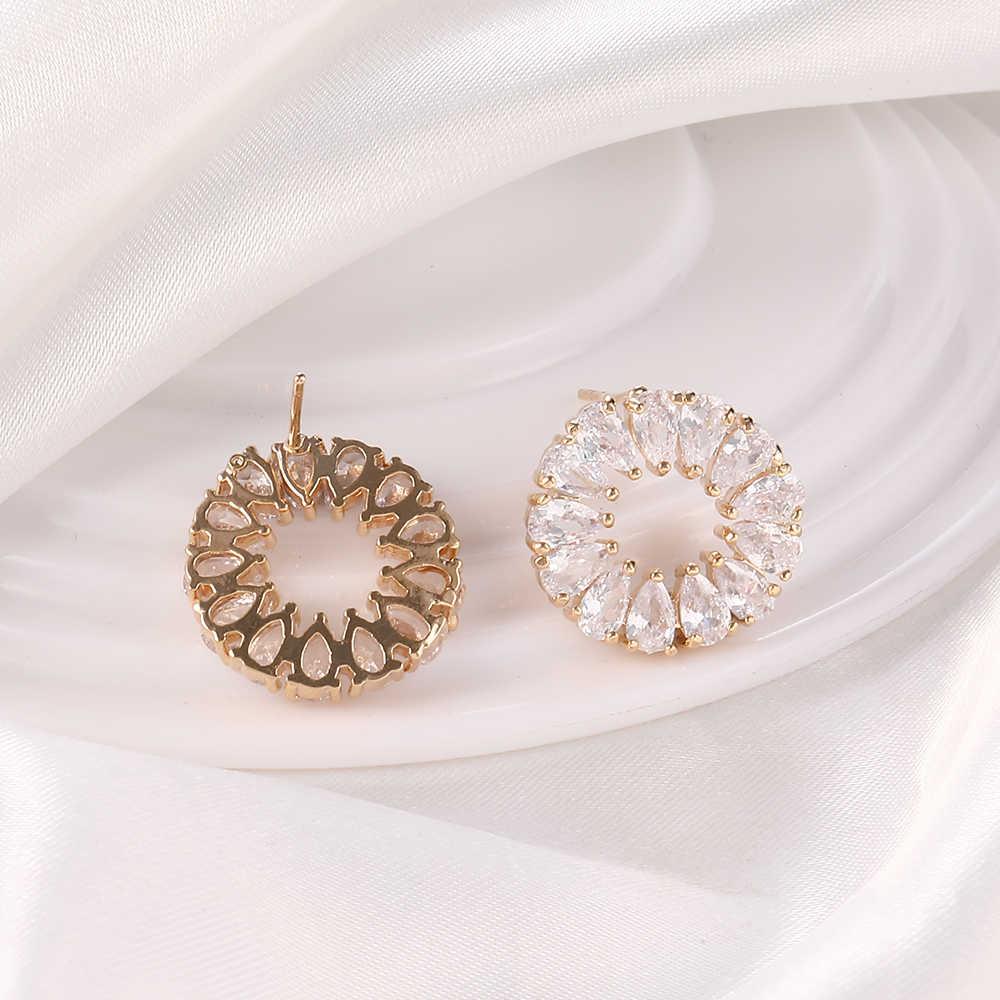 Thời Trang Hàn Quốc Đính Đá Cubic Zirconia Bông Tai Nhỏ Hoop Bông tai Nữ Hoa Hồng Vàng Đính Hoa 2019 thời trang Trang Sức Dễ Thương