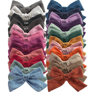400 pcs/lot, 4 inches Hand Tied Cotton Linen Hair Bow Clips