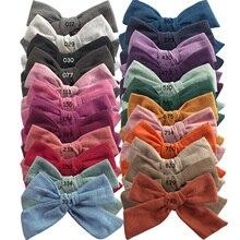 24 sztuk/partia, 4 cale ręcznie wiązanej bawełniana pościel do włosów spinki z wstążką, dziewczynek kokardki nylonowe opaski na głowę, prezent na Baby shower