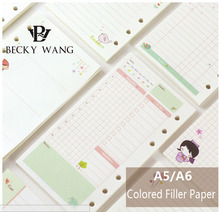 A5/A6 Cute Creative Colored Diario Binder Filler Paper Office School Stationery Planner Accessories Filler Paper For Filofax a6 korean macarons colored planner organizer office school accessories spiral binder planners diario note taking lovely planners