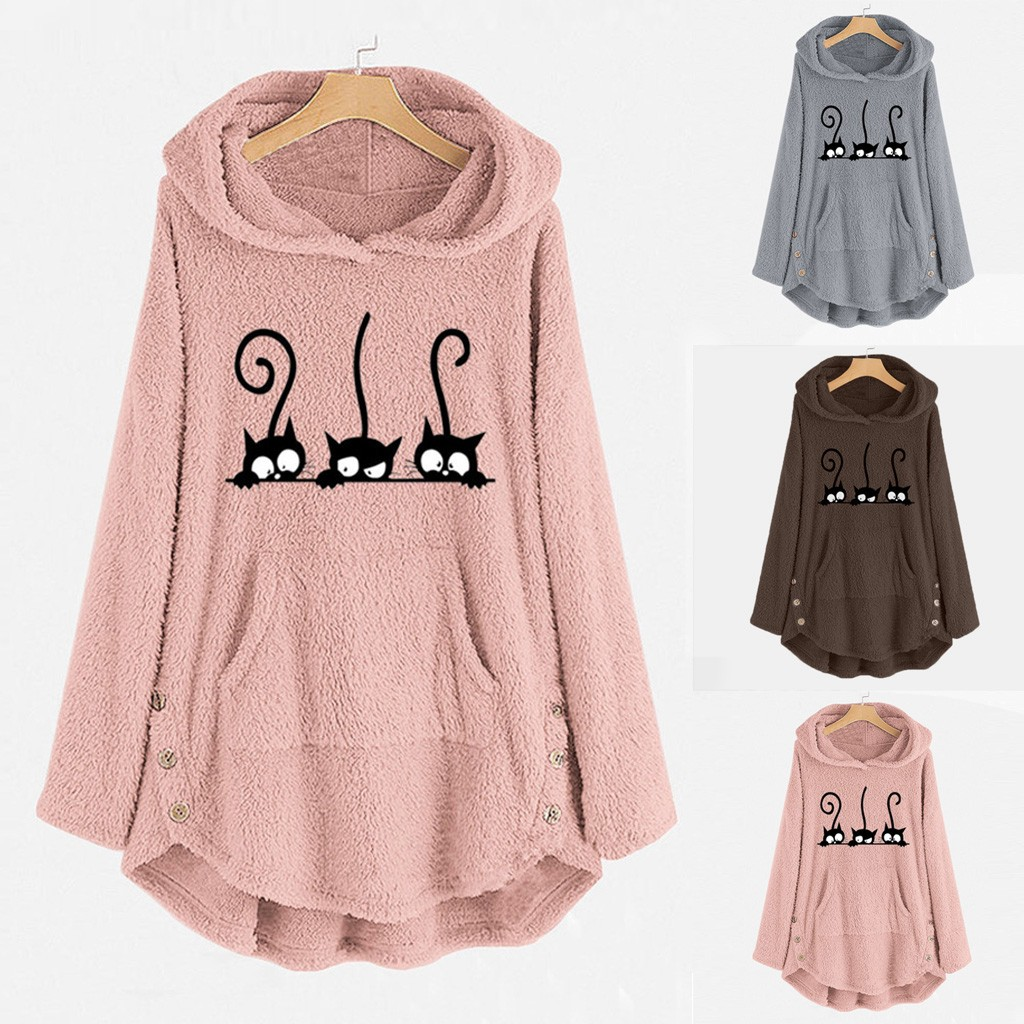 Womens Winter Plush Coat Fleece Cat Embroidery Warm Hoodie Top Plus Size Button Lady Pocket Outwear Long Pullover Womens Warm