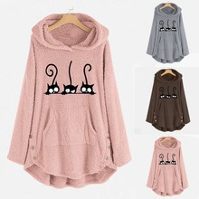 Womens Winter Plush Coat Fleece Cat Embroidery Warm Hoodie Top Plus Size Button Lady Pocket Outwear Long Pullover