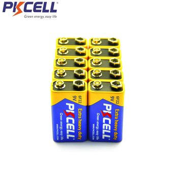 цена на PKCELL 10Pcs 9V 6F22 Battery Super Heavy Duty Batteries Dry Batteria ForInfrared Electronic thermometer wireless microphones