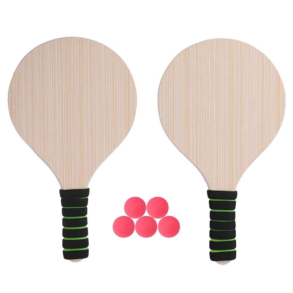 Paddle Ball Game Beach Tennis Pingpong Cricket Badminton Racket Paddles Set Indoor Outdoor Racquet Game (Random Handle Color)