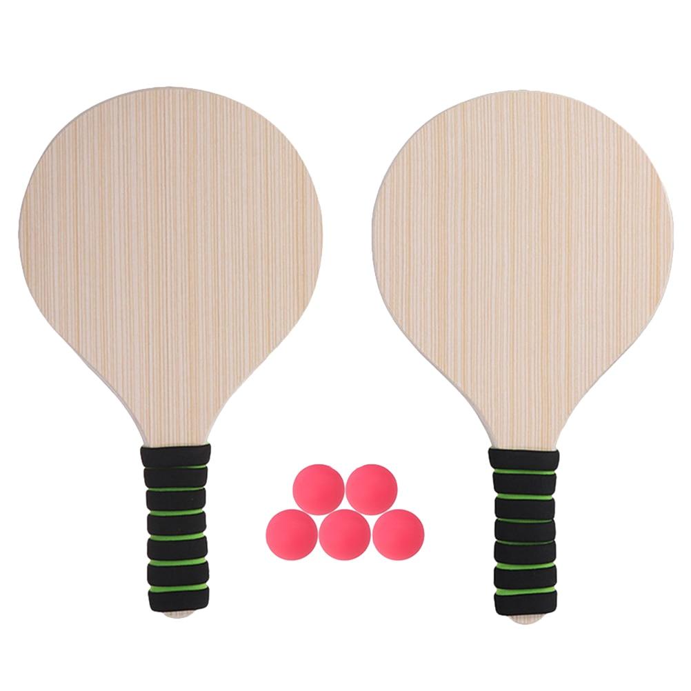 Paddle Ball Game Beach Tennis Pingpong Cricket Badminton Racket Paddles Set Indoor Outdoor Racquet Game (Random Handle Color)