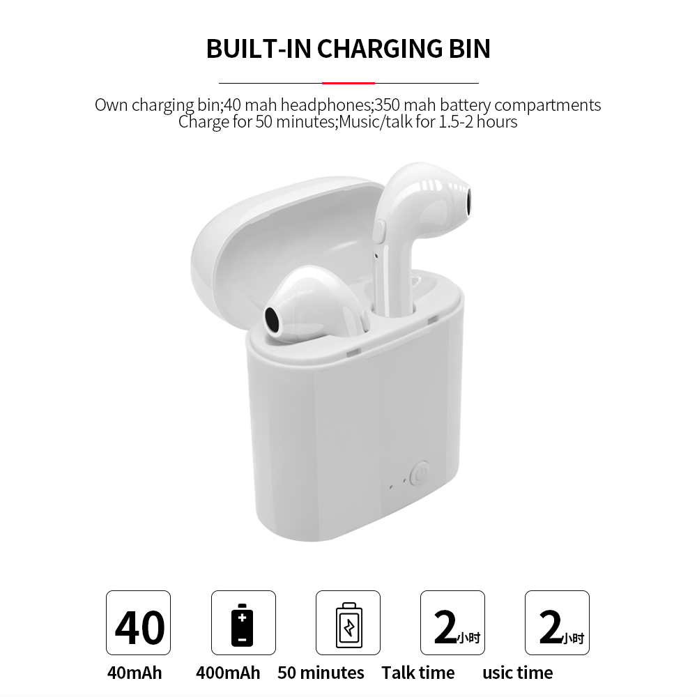I7s Tws Bluetooth Earphone Stereo Earbud Bluetooth Headset With Charging Pod Wireless Headset For All Smartphones