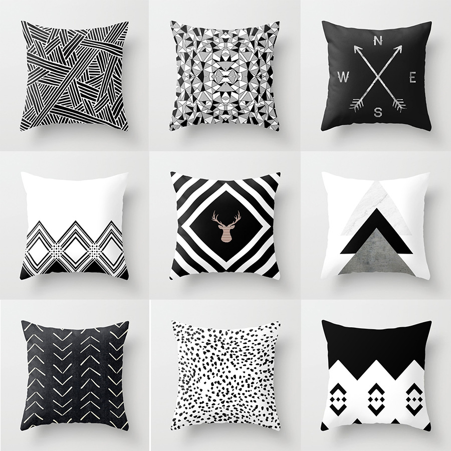 Nordic Simplicity Black White Geometry Throw Cushion Pillows Covers Decorative Fashion Buffalo Plaid Elk Home Living Room Decor