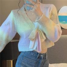 2021 New Sweater Long Sleeve Gradient Tie-Dye Bow Short Knit Cardigan Sweaters For Women Fashion Elegant Vintage Blouses Y2k