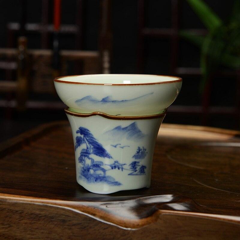 [GRANDNESS] Jingdezhen Handpainted Celadon Tea Strainers Ceramic Filter Mesh Tea Strainers Tea