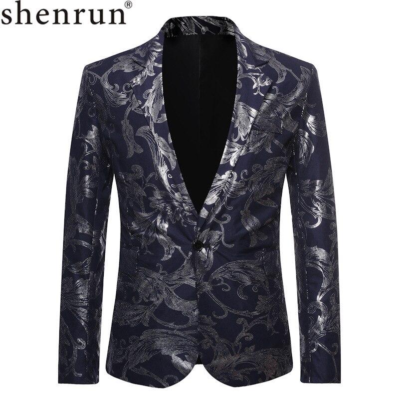 Shenrun Men Blazers Black Navy Blue Floral Print Casual Jacket Groom Suit Jacket Singer Host Dress Musician Stage Blazer Costume