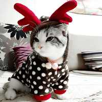 Cute Pet Clothes Christmas Party Dress Up Reindeer Cosplay Costume Coat Hoodie For Cats Small Dogs Pet Warm Jumpsuit Jacket