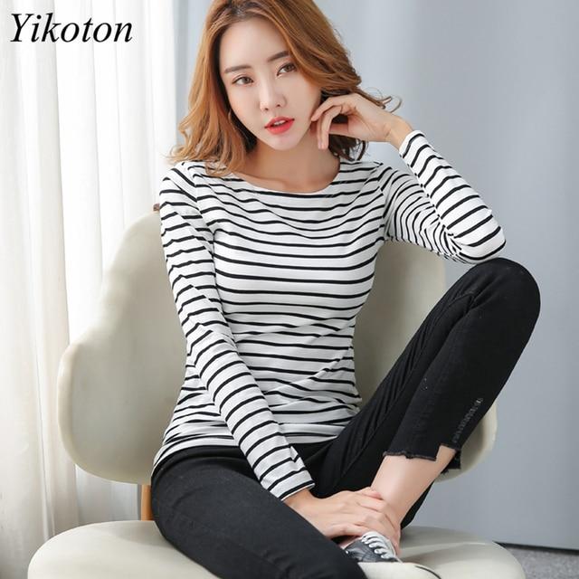 Long Sleeve Basic T Shirt Female Women's Black White Striped Plus Size 5XL Tshirt Cotton 2021 Spring Autumn Tee Shirt Ladies Top 1
