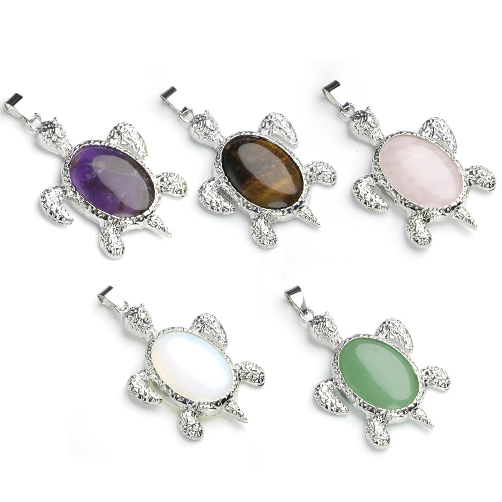 Fashion turtle pendant necklace men and women longevity birth stone rose quartz balance chakra crystal pendant jewelry