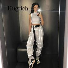 2020 Women 2 Piece Tracksuit Reflective Cropped Top Loose Pants Sets