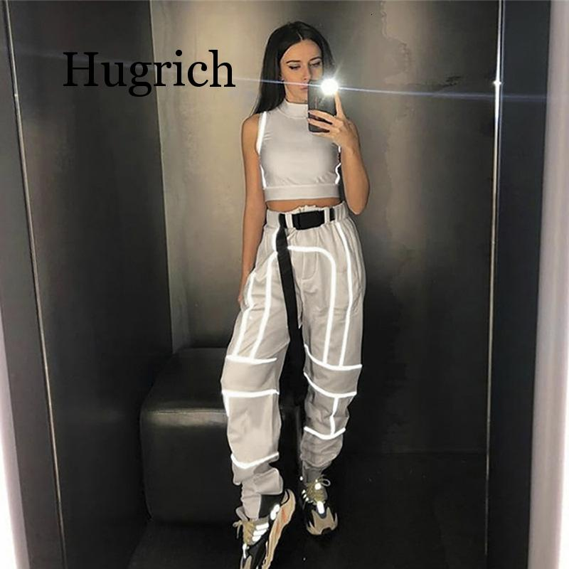 Women 2 Piece Tracksuit Reflective Cropped Top Loose Pants Sets Fashion Female Shine Black Tank Top And Trouser