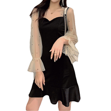 Autumn New 2019 Winter Dresses Splice Mesh Transparent Dress Black Dot Long Sleeve Sexy A-Line Lace Ruffle 197B