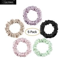 LilySilk Silk Scrunchies 5PCS Hairband Charmeuse 100 Pure Head Rope Rubber For Hair Accessories Soft Care Luxury Free Shipping