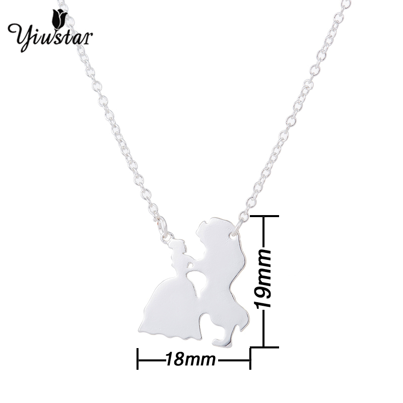 Yiustar Cute Movie Jewelry Necklace Prince Princess Charming Pendant Necklace Gold Stainless Steel Choker Beauty Beast Fans Gift